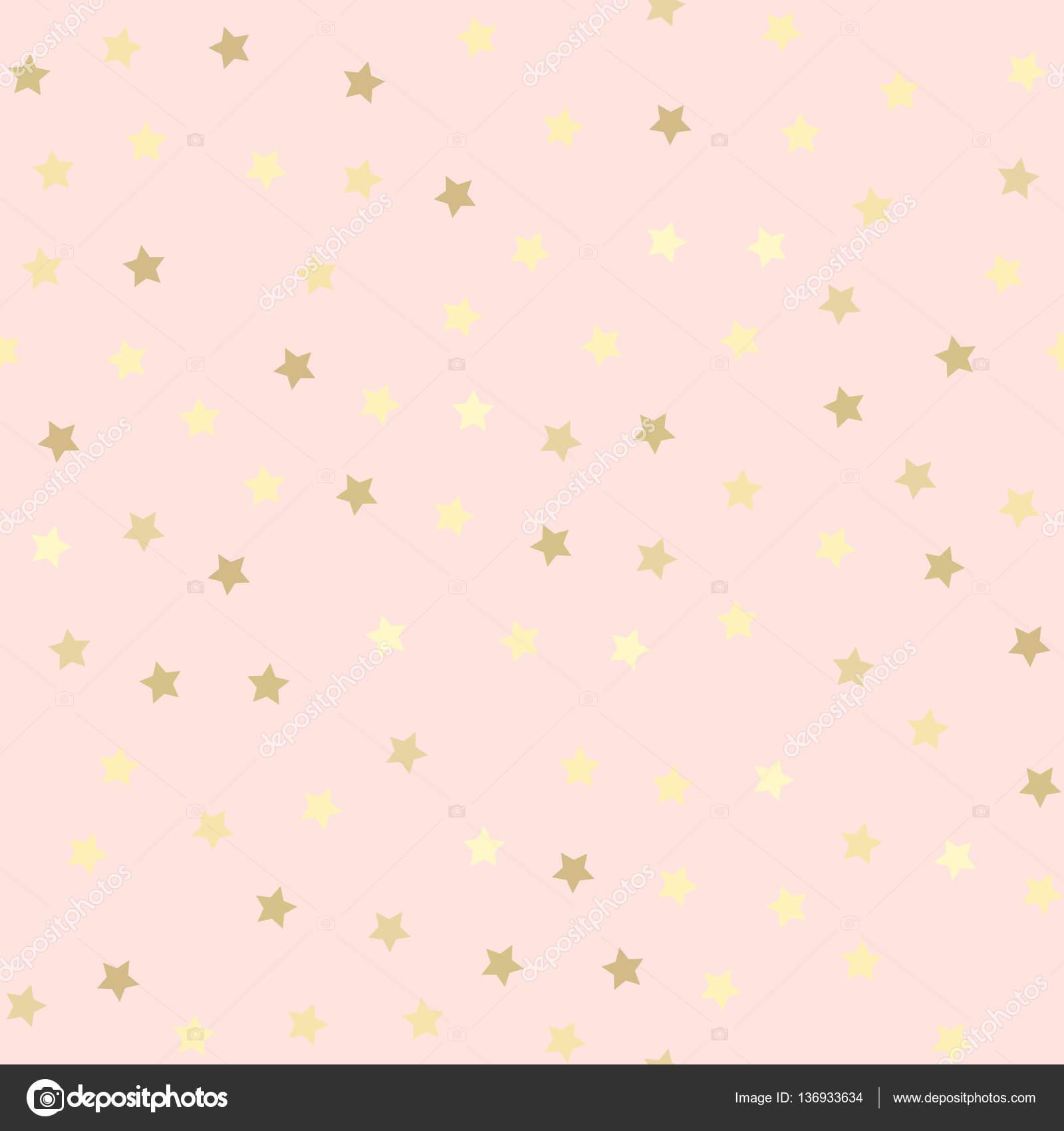 Oro brillo transparente, rosa estrellas de fondo — Vector