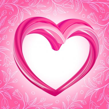 Valentines Day background, abstract pink heart shape on bright pink and white floral background. Vector illustration. stock vector