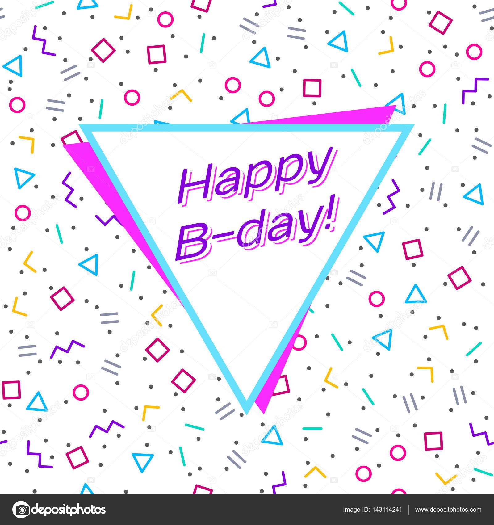 Abstrakte Happy Birthday Hintergrund, Memphis Art geometrische ...