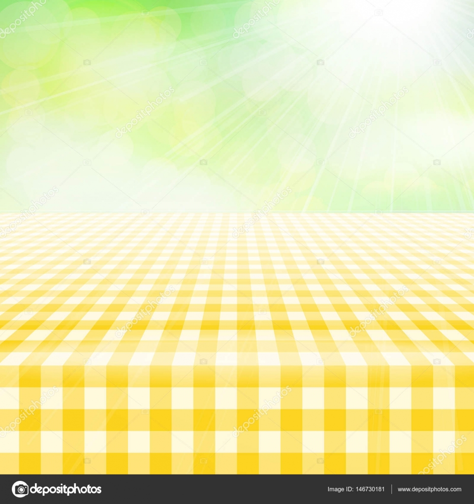Empty Picnic Gingham Tablecloth, Green Background U2014 Stock Vector #146730181