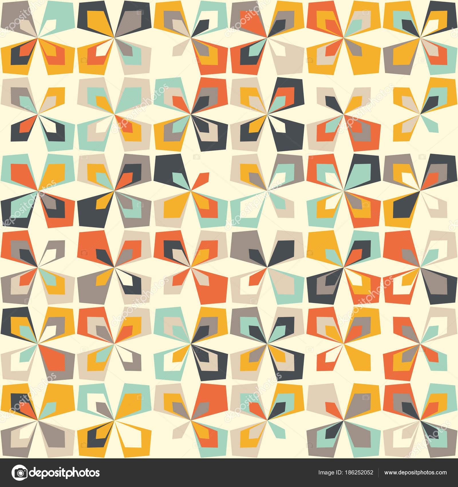 Midcentury Retro Geometrisch Vintage Farben Stockvektor