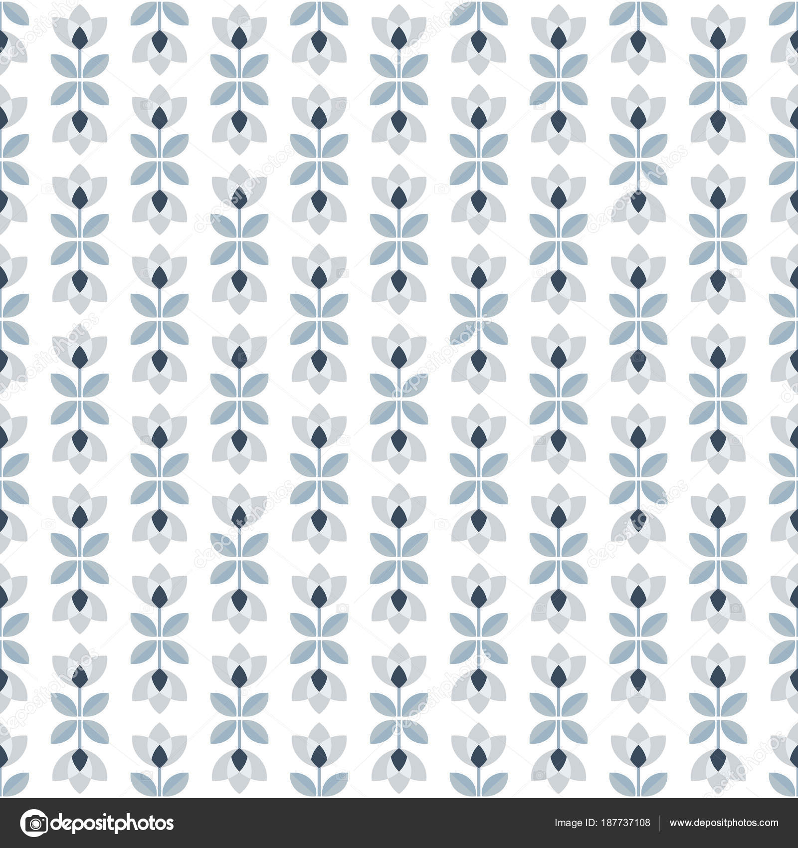 Scandinavian Floral Background Mid Century Wallpaper Seamless Pattern Vector Illustration Retro Interior Home Decor In Navy Blue And Silver Gray Colors