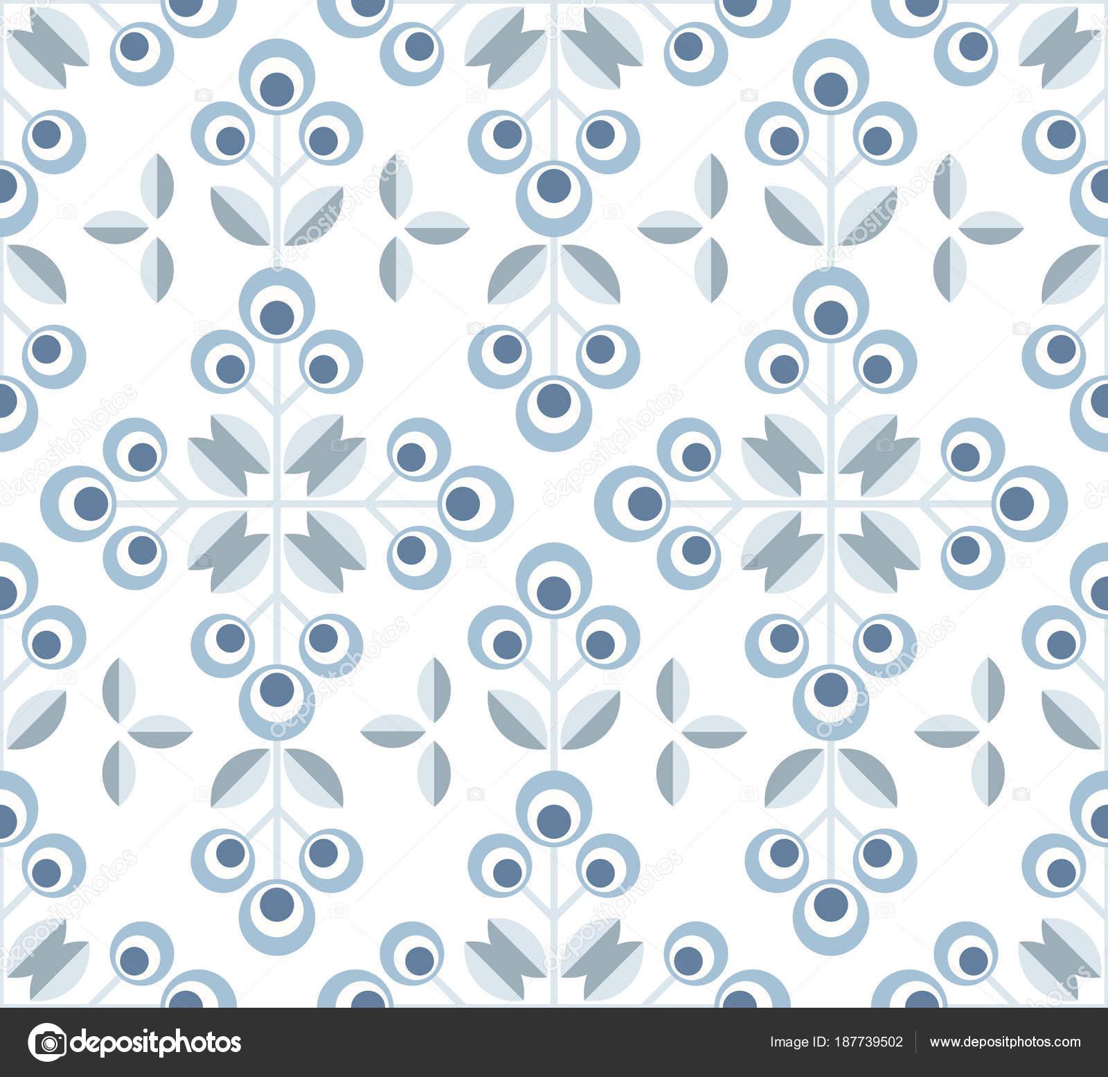 Wunderbar Skandinavische Blumenkarte Mitte Jahrhundert Tapete, Nahtlose Muster U2014  Stockvektor
