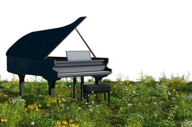 Piano in the garden. 3d rendering