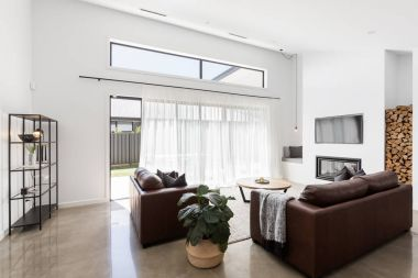 living room with glass sliding doors