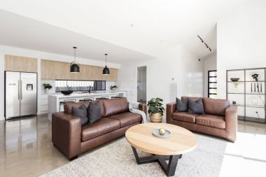 Open family living room and kitchen