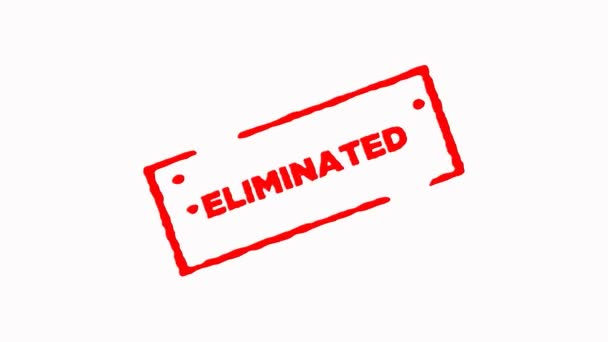 Eliminated signed with red ink stamp zoom in and zoom out on white background (4K)
