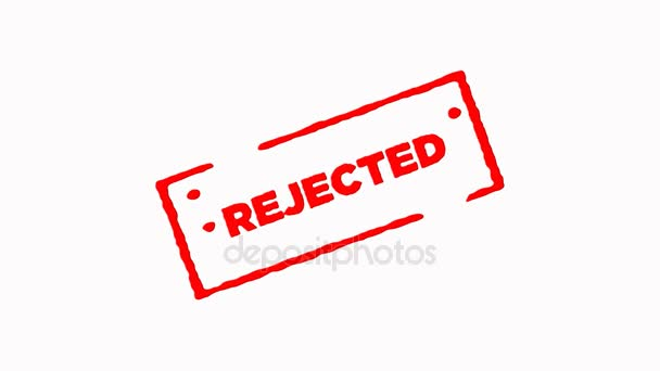 Rejected signed with red ink stamp zoom in and zoom out on white background (4K)