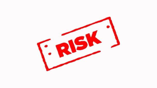 Risiko signiert mit rotem Stempel zoomen und zoomen auf weißem Hintergrund (4k))