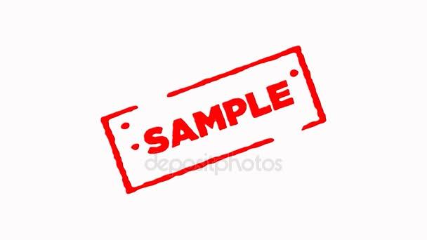 Minta kötött vörös tintával bélyegző nagyítás és kicsinyítés a fehér háttér (4k)