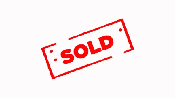Sold signed with red ink stamp zoom in and zoom out on white background (4K)