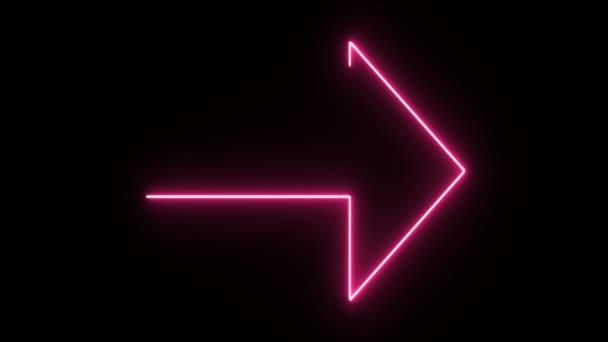 4K Neon pink arrow shape flickering on dark background