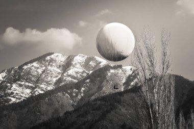 Erstwhile hot air balloon in Nehru Park on Boulevard Road in Srinagar, Kashmir on a winter day in sepia tones