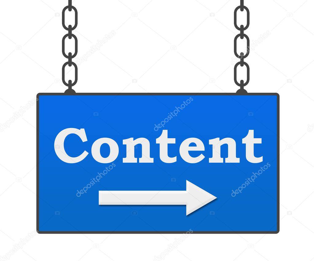 Content Blue Signboard