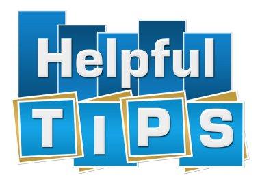 Helpful Tips Blue Squares Stripes