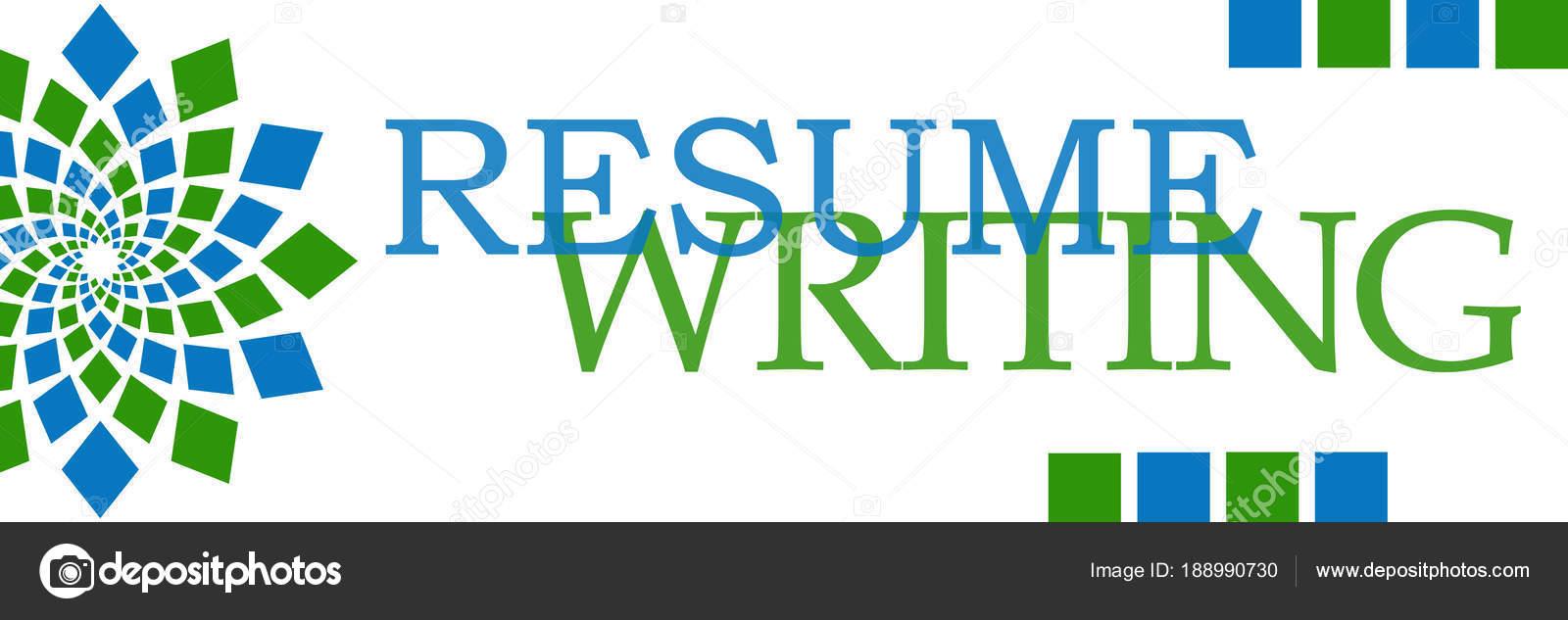 Reanudar Escritura Texto Escrito Sobre Fondo Azul Verde — Fotos de ...