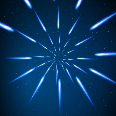Warp stars. Light Motion in Space.