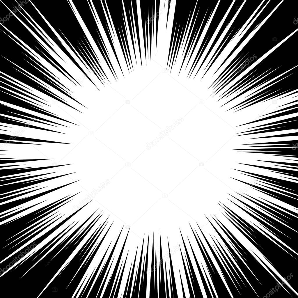 Black and white background action comic book strips  Radial