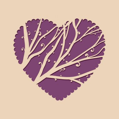 Greeting card with heart and a beautiful tree. Template invitation for laser cutting. Greeting card for cutting plotter.
