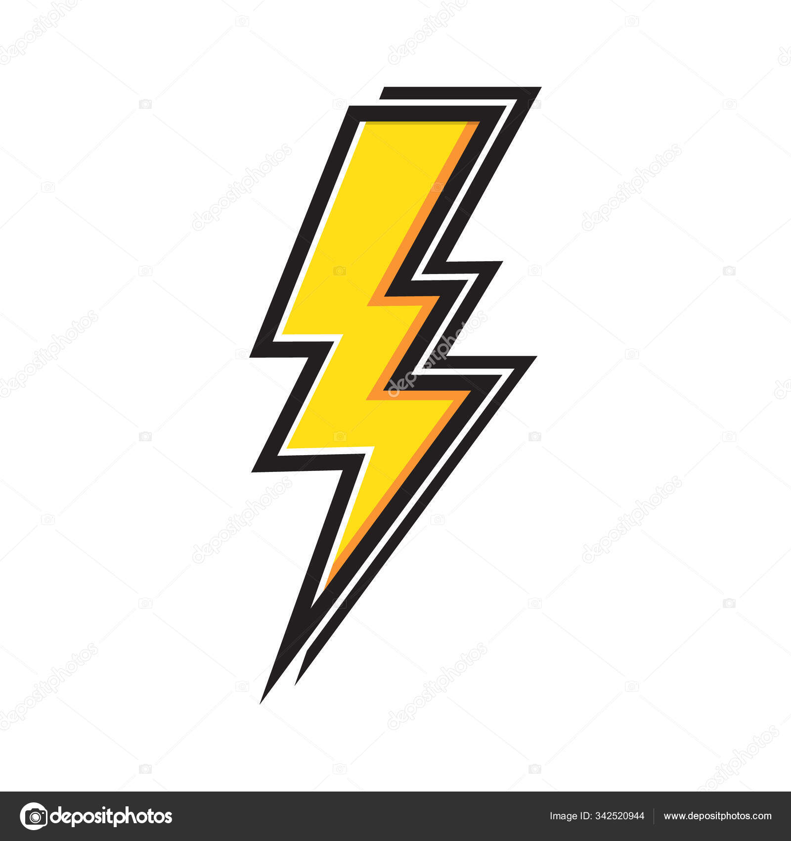 Yellow Electric Lightning Bolt Shading Effects White Background Vector Icon Stock Vector C Dmvector 342520944