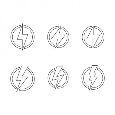 Lightning, electric power line icon. Energy and thunder electricity symbol concept. Lightning bolt sign in the circle. Power fast speed logotype vector logo design element