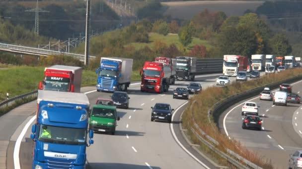 Dense traffic on German highway A3