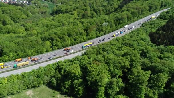 Traffic jam on highway - aerial view, tracking shot, time lapse