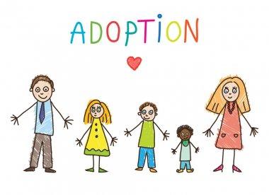 Kids Drawing. Adoptive family