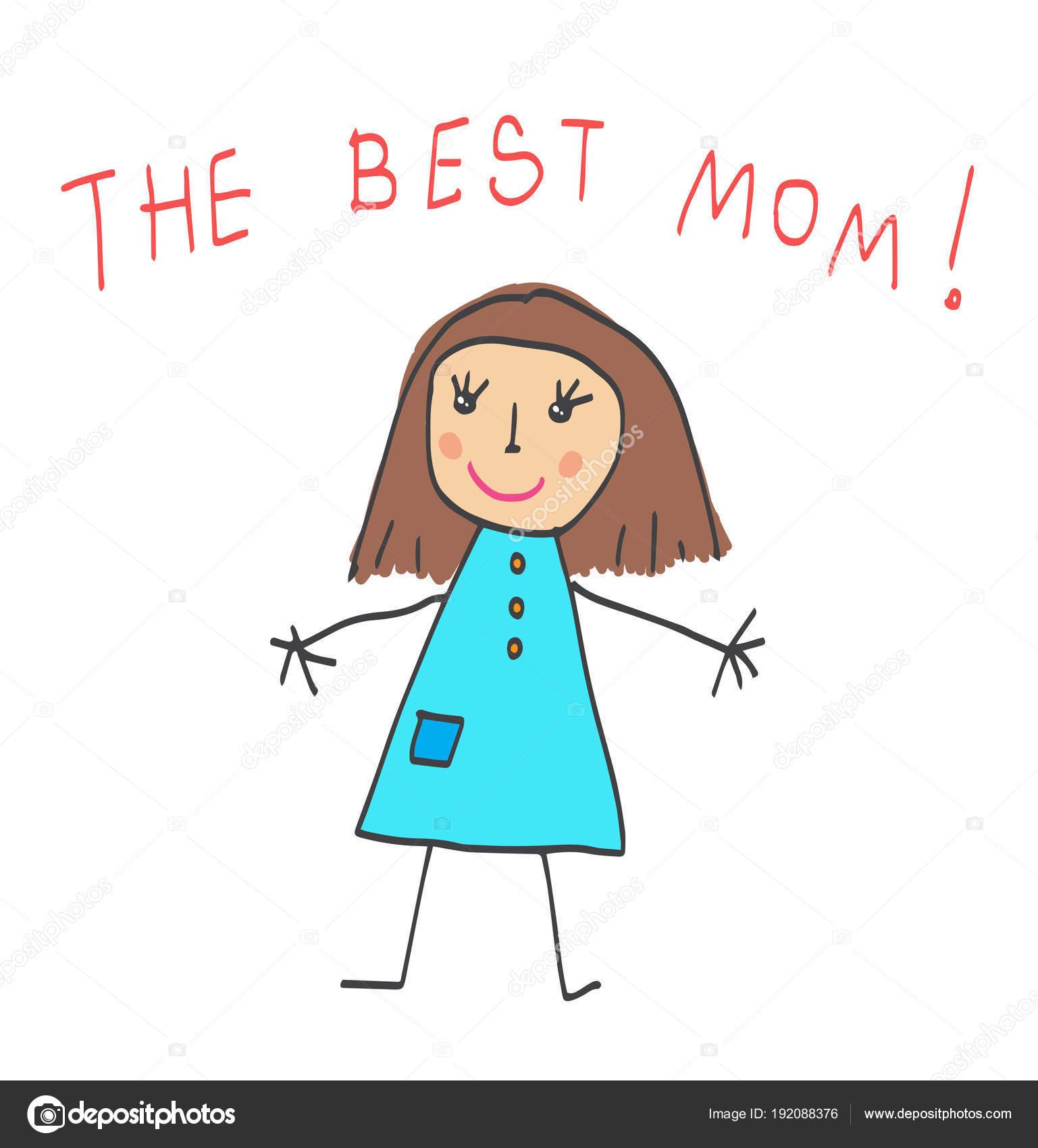 Kinderen Tekenen De Moederdag De Beste Moeder Stockvector