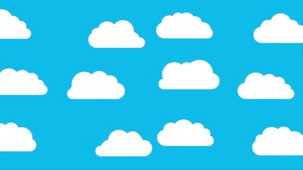 Bolyhos felhők mozognak a kék ég hátterében. Fehér felhők csoportja repül a tiszta és kék égen. Időjárási és meteorológiai koncepció. Animációs és illusztrációs videó