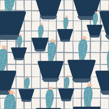 Simple cactus in pot seamless pattern on stripes background. Houseplant cacti wallpaper. Design for fabric, textile print, wrapping paper. Creative vector illustration.