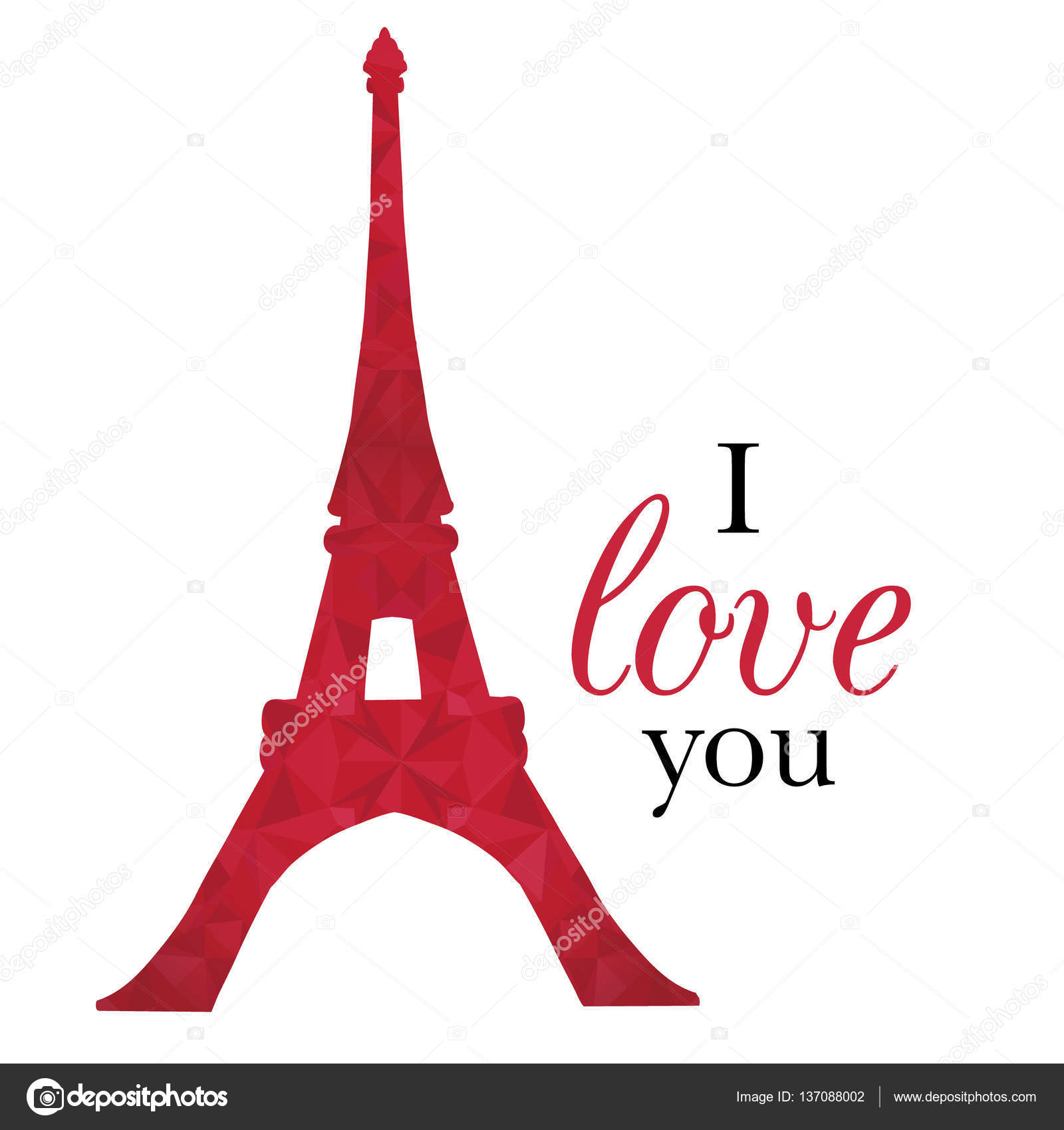 Vector Ruby Red Eifel Tower Paris On St Valentines Day Of Love ...