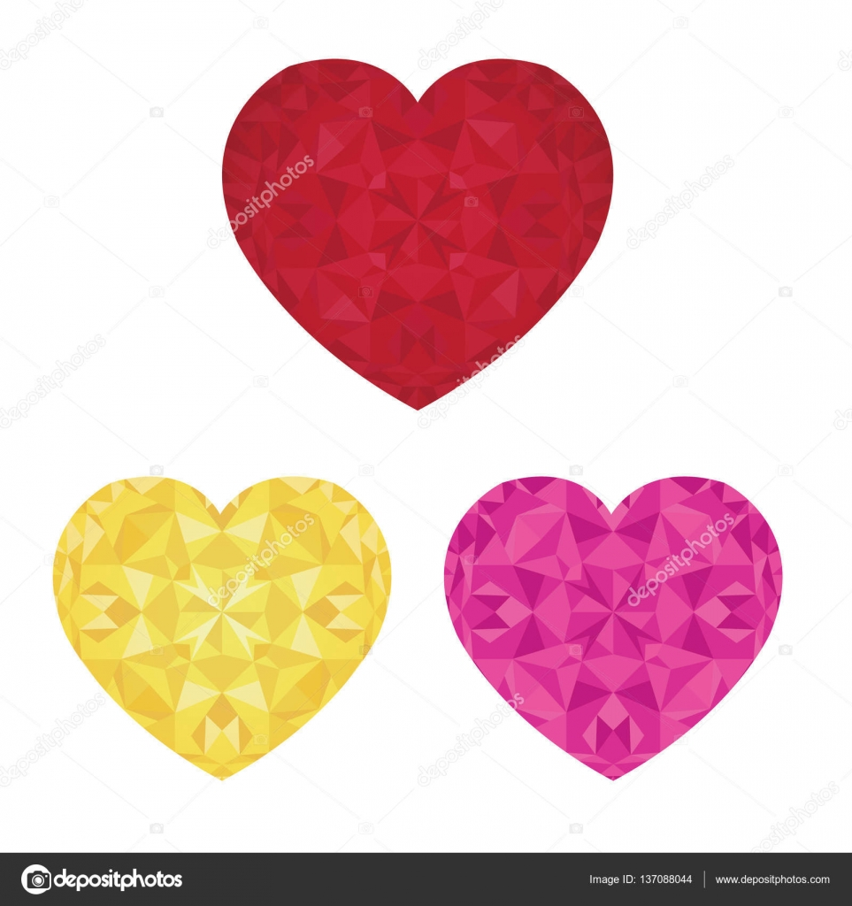 Vector St Valentines Day Crystal Pink Red and Golden Hearts Of Love ...
