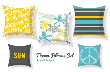 Set Of Tropical Palm Trees Throw Pillows In Matching Unique Pastel Seamless Patterns And Designs. Square Shape. Editable Vector Template.
