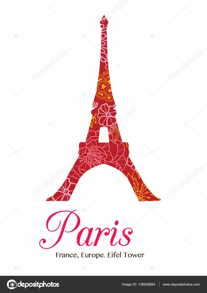 Vector Red Floral Eifel Tower Paris On St Valentines Day Of Love ...