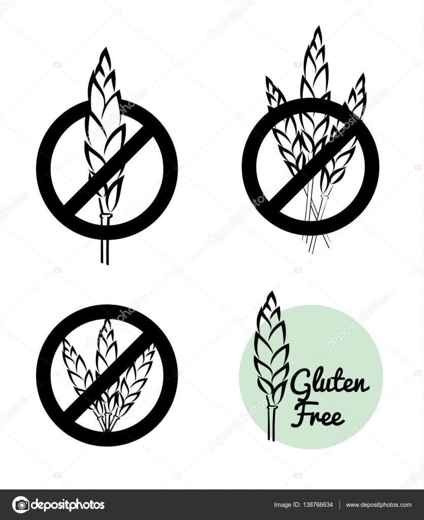 Vector set of four gluten free symbols with banned wheat heads icon vector set of four gluten free symbols with banned wheat heads icon designs great for food packaging vintage black and white drawing style biocorpaavc Gallery