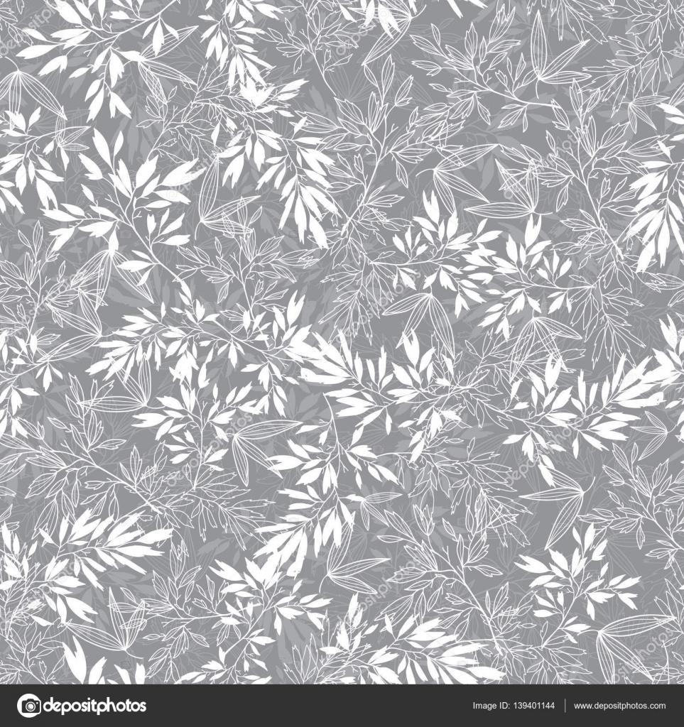 Vector flor gris ramas hojas verano transparente de fondo for Papel de pared gris