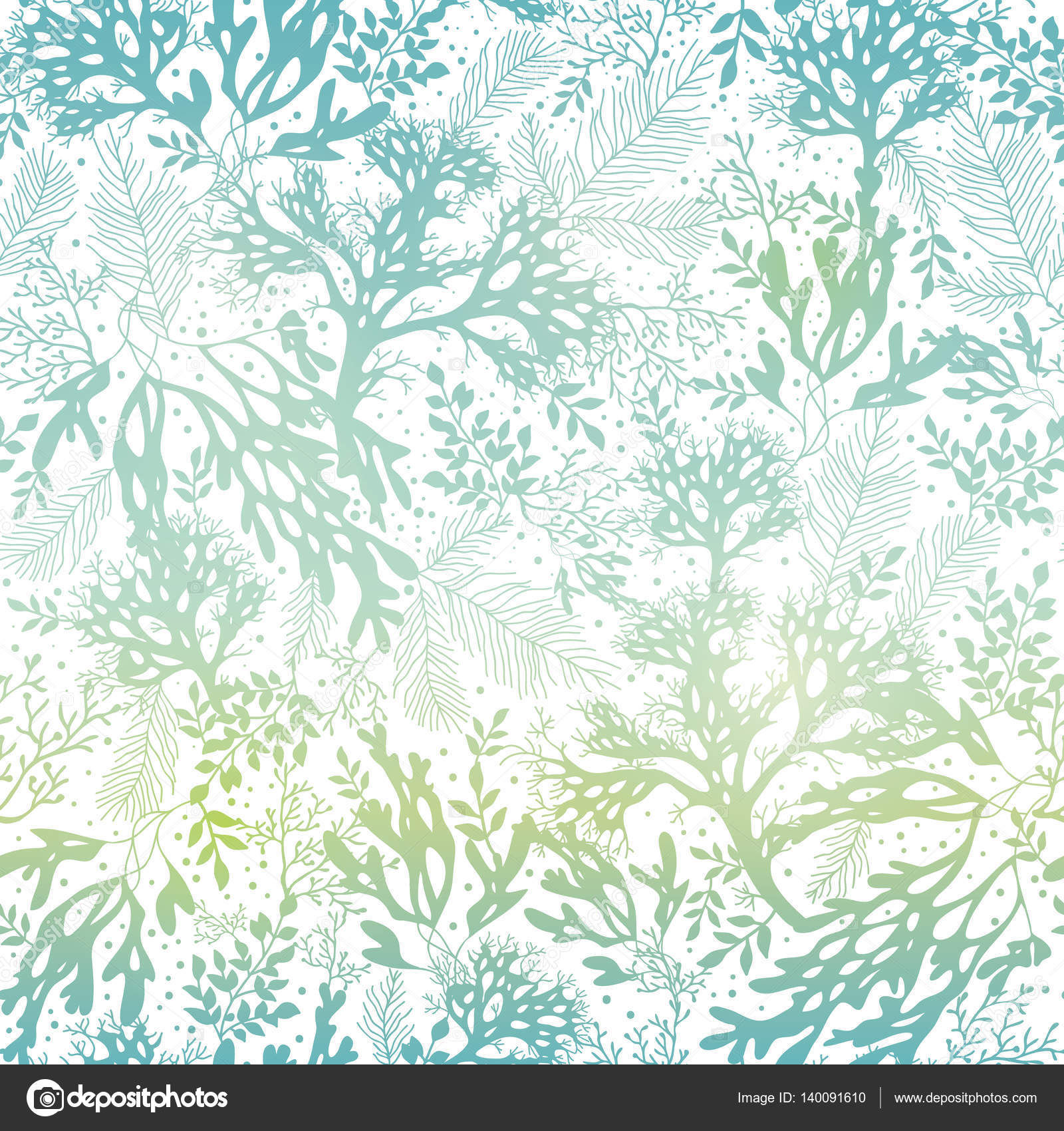 Vector Blue Freen Seaweed Texture Seamless Pattern Background Great For Elegant Gray Fabric Cards Wedding Invitations Wallpaper Textile Design