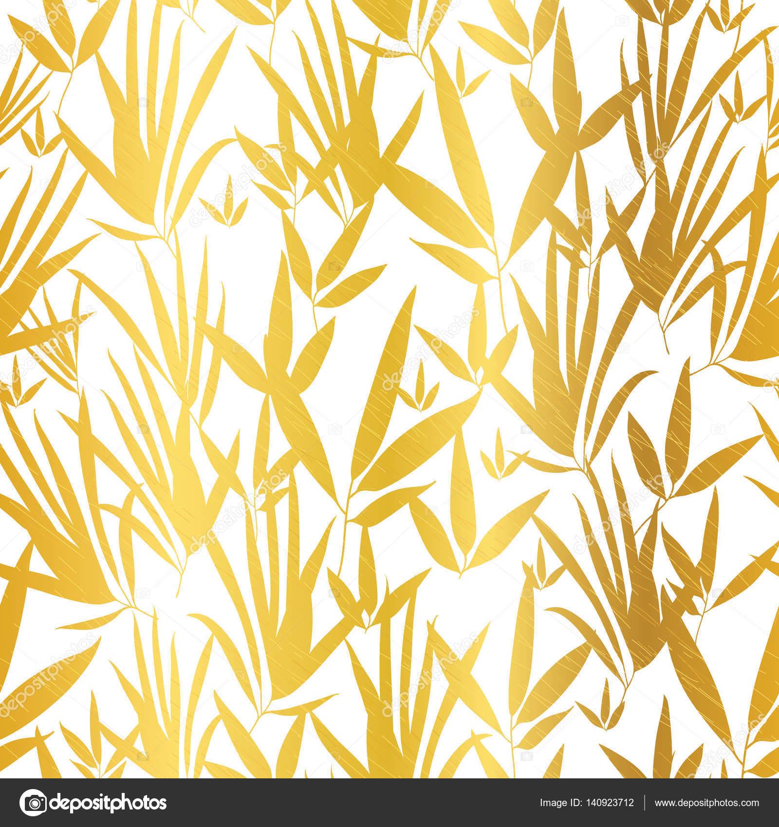 Vector blanco dorado del bamb hojas transparente de fondo for Papel de pared dorado