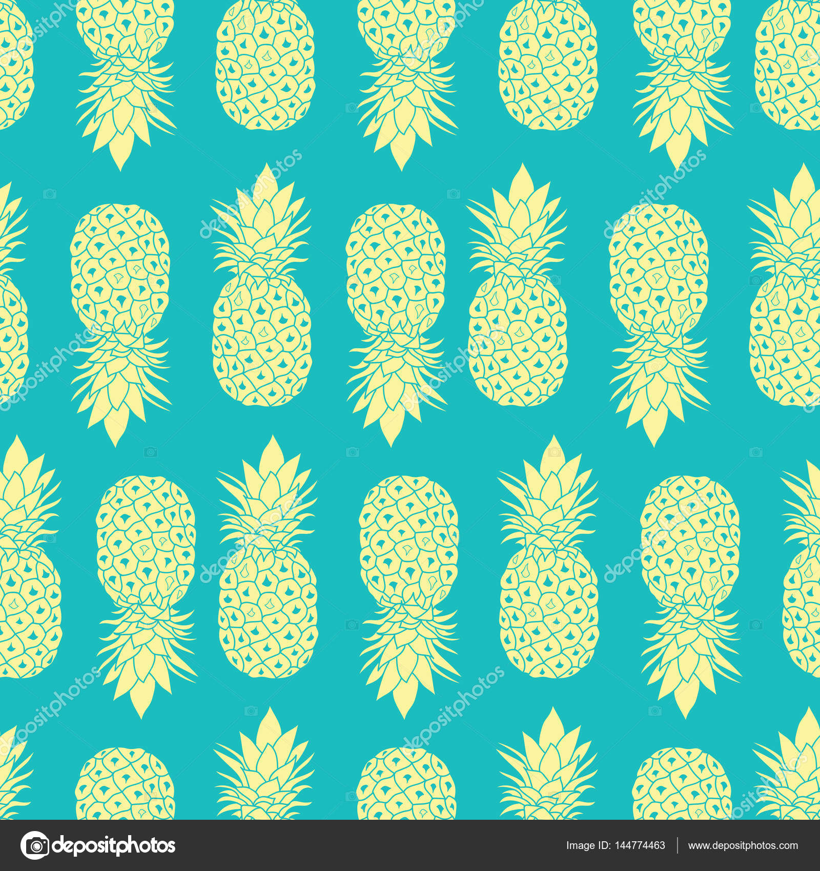 Fresh Blue Yellow Pineapples Geometric Vector Repeat Seamless Pattrern In Grey And Colors Great For Fabric Packaging Wallpaper Invitations
