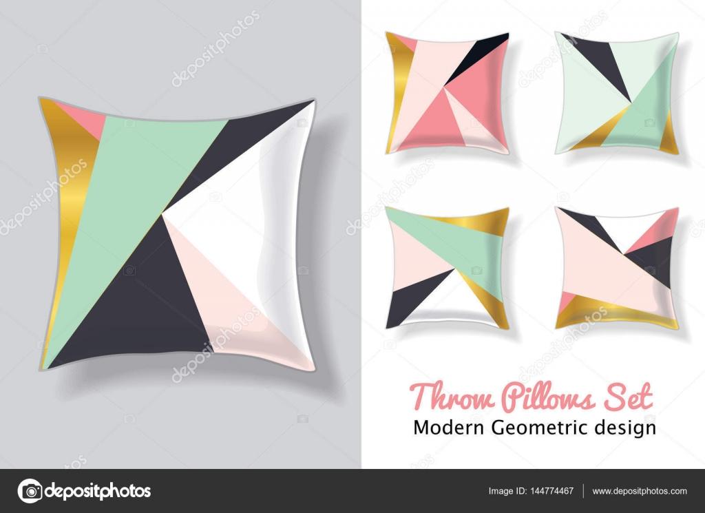 Sistema de color de rosa y menta verde cojines en juego patrones de ...