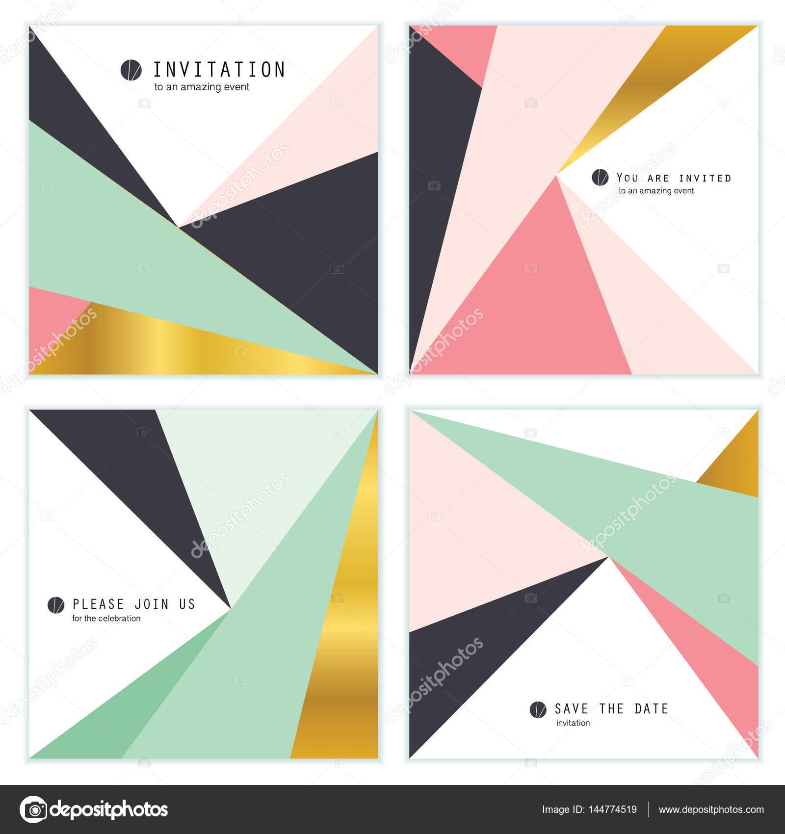 Satz Von 4 Kreative Universal Einladungskarten. Geometrische Dreiecke  Texturen. Ideal Für Hochzeit, Jubiläum
