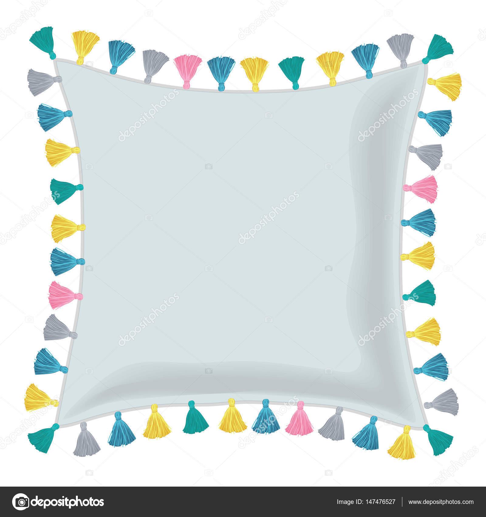Vector gris almohada decorada con borlas decorativas coloridas ...