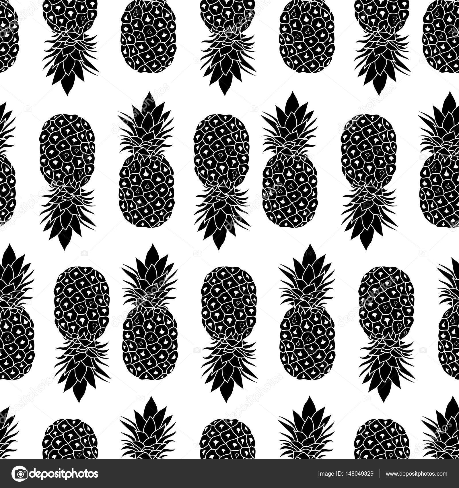 Fresh Black And White Pineapples Geometric Vector Repeat Seamless Pattrern In Classic Colors Great For Fabric Packaging Wallpaper Invitations
