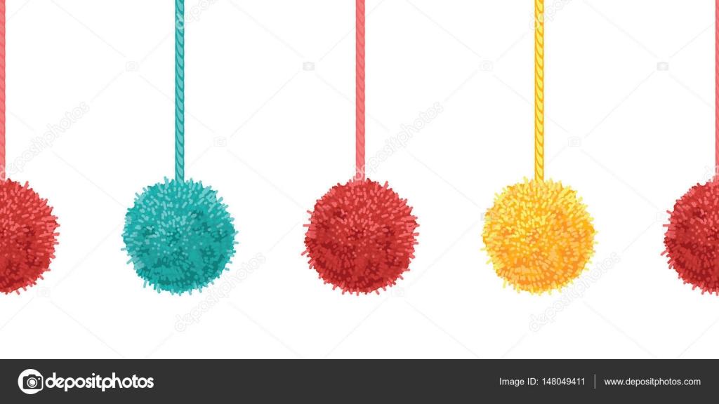 Kolorowe Pompony Dekoracyjne Wektor Z Lin Poziomych