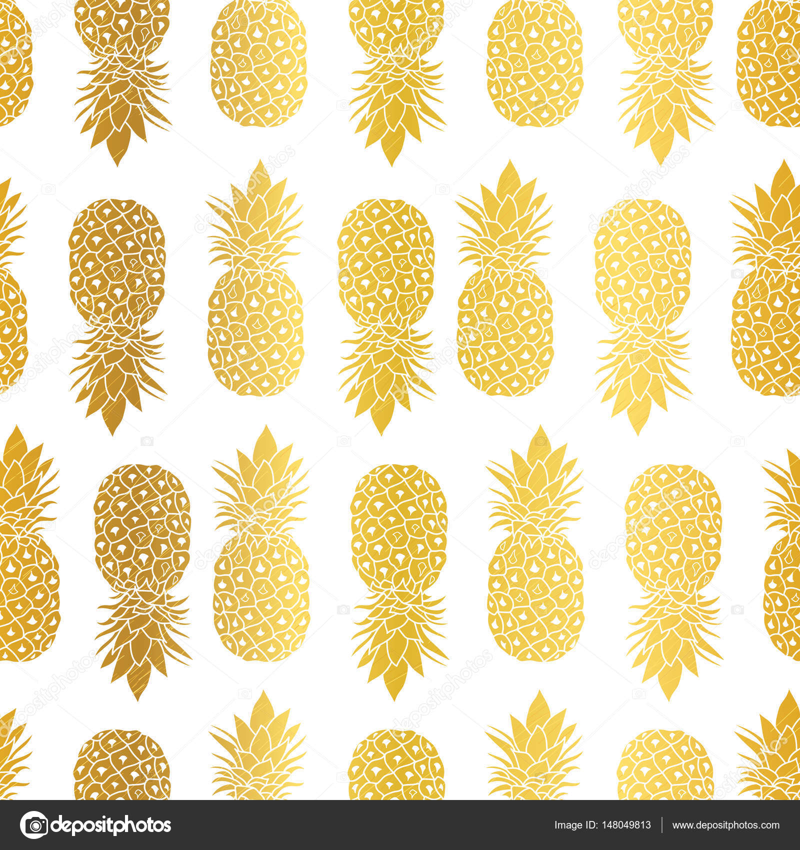 Vector Gold White Pineapples Geometric Repeat Seamless Pattrern In Color Great For Fabric Packaging Wallpaper Invitations