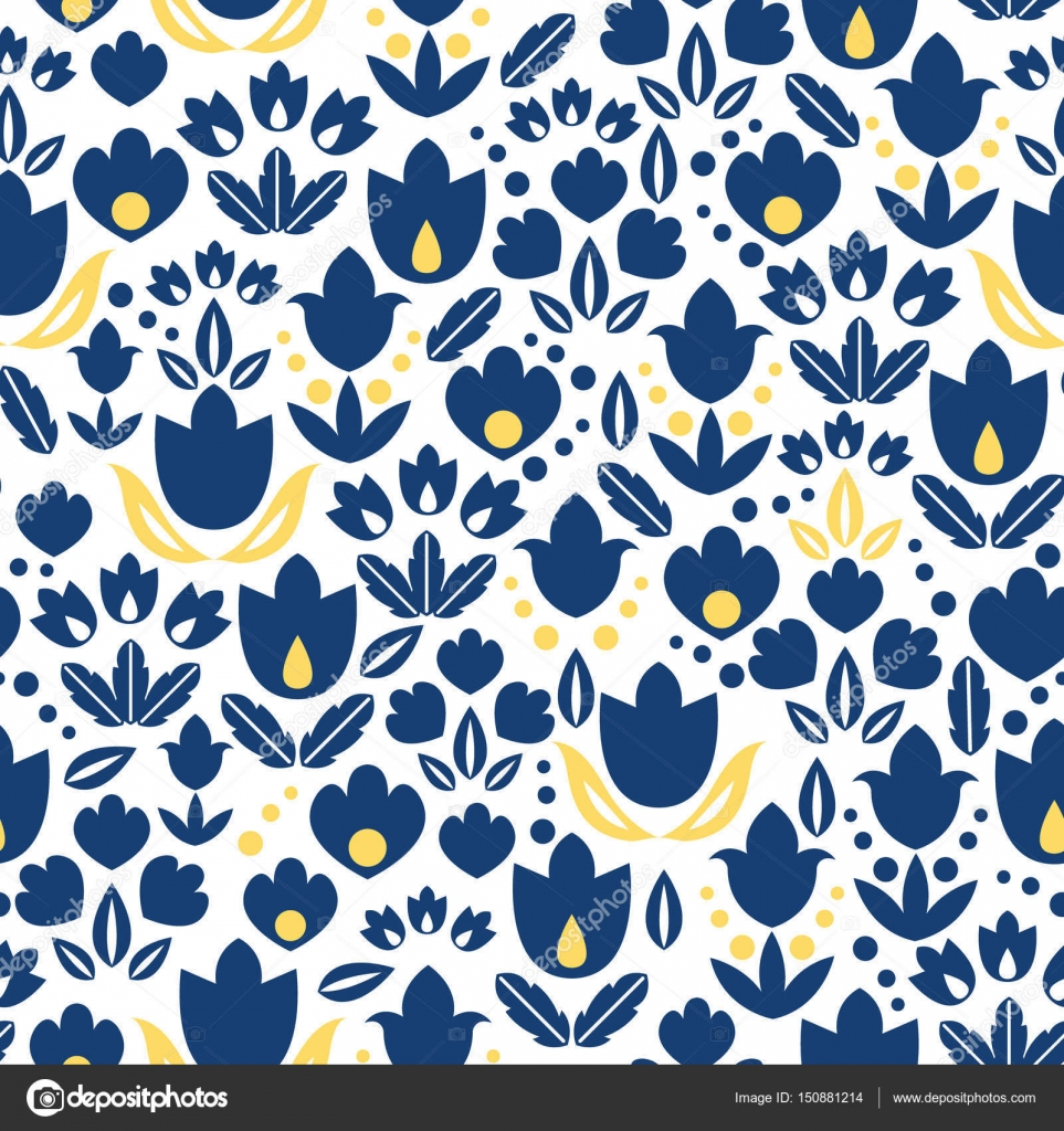Vector Dark Blue Navy And Yellow Tulips Flowers Seamless