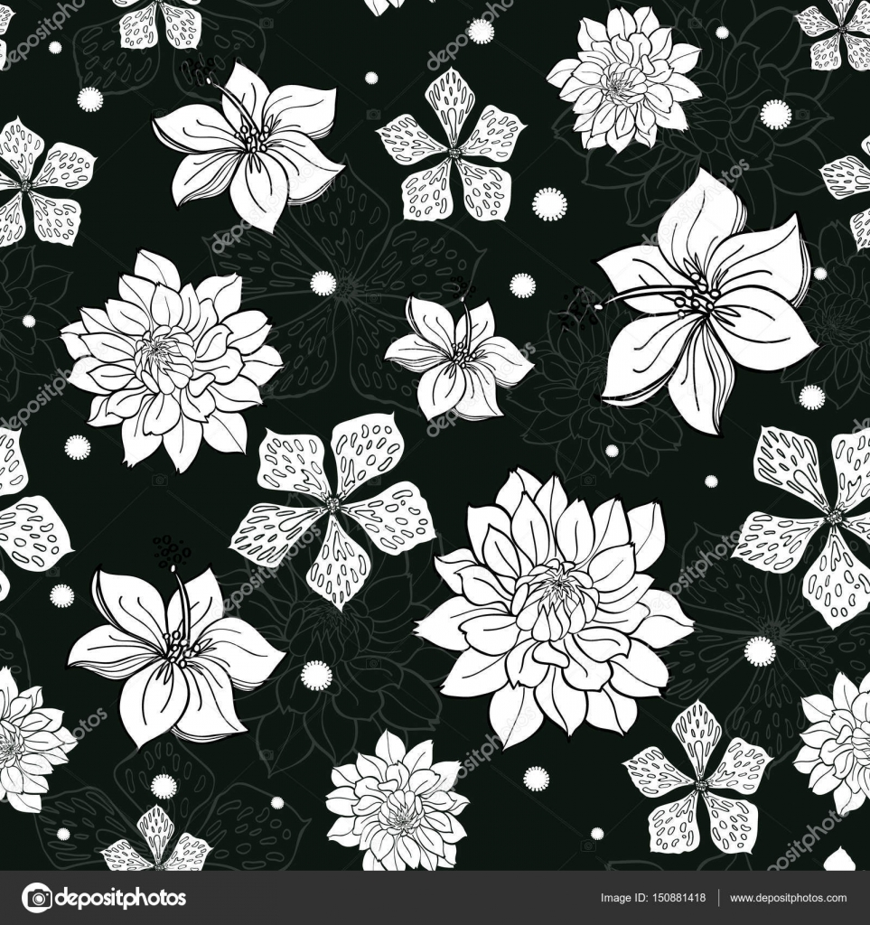 vector tropical black and white flowers seamless repeat pattern