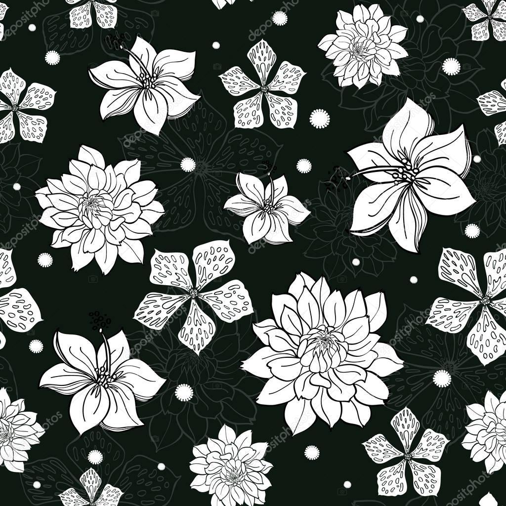 vektor schwarz wei tropenblumen nahtlose wiederholen muster hintergrunddesign ideal f r sommer. Black Bedroom Furniture Sets. Home Design Ideas