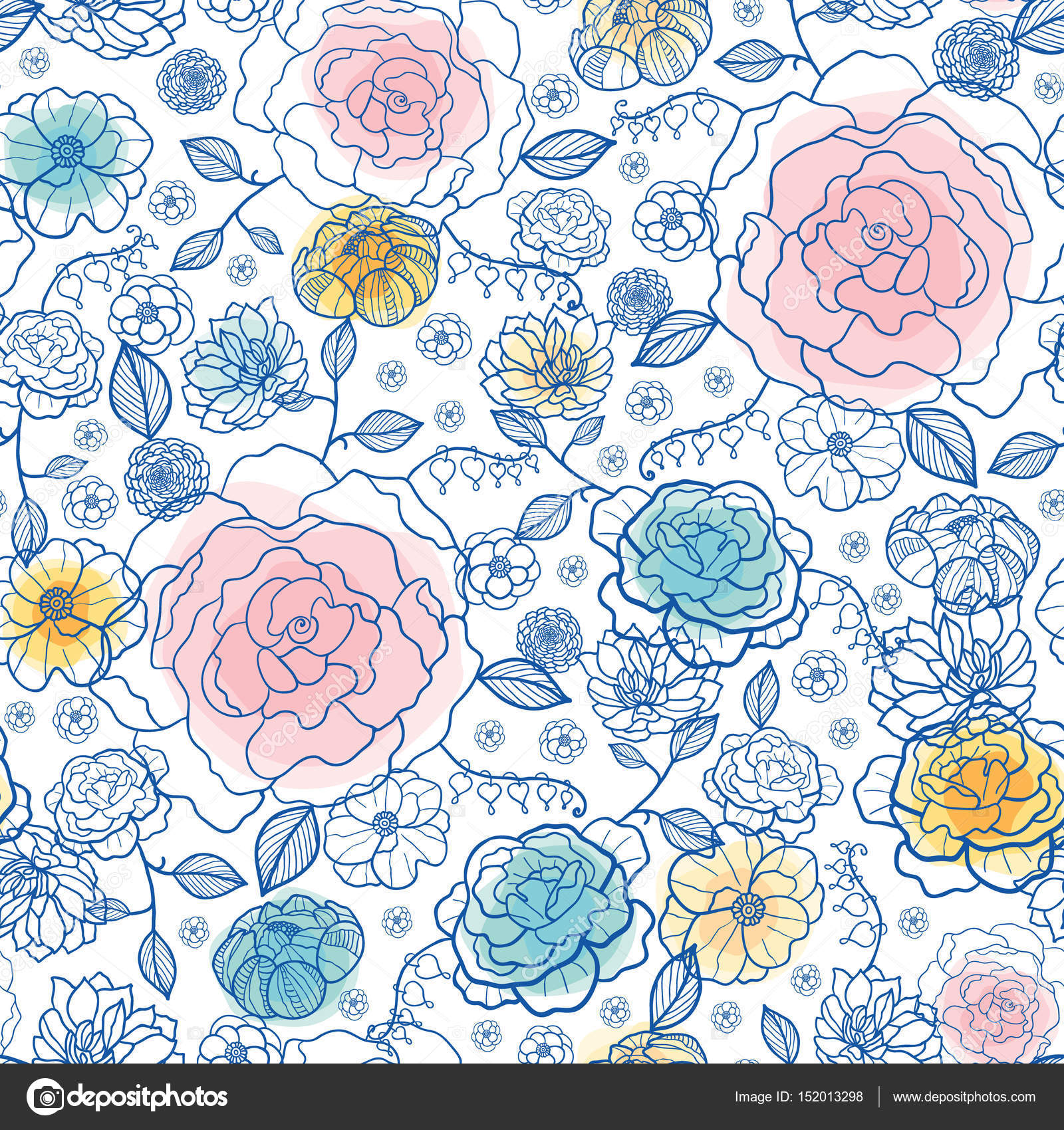 Vector Navy And Pastels Spring Flowers Seamless Repeat Pattern